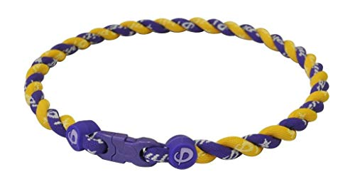 (Phiten Tornado Titanium Necklace, Purple/Gold, 18