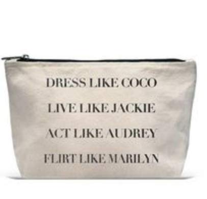 The Perfect Pouch Make-Up Travel Accessory Bag Pencil Pouch Toiletry Cosmetics Canvas Novelty Bag with Zipper- DRESS LIKE COCO LIVE LIKE JACKIE ACT LIKE AUDREY FLIRT LIKE MARILYN