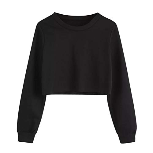 n Round Neck Solid Color Long Sleeve Short Sweater Pullover Top ()
