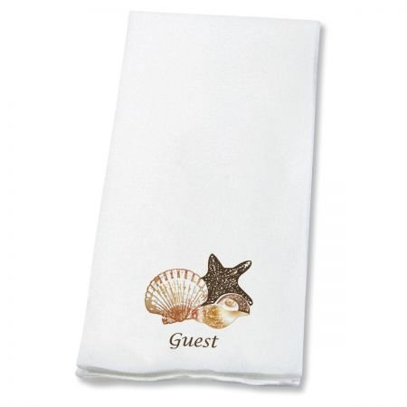 - Seashells Linen-Like Disposable Guest Hand Towels (Set of 100)- 50% cotton 50% paper blend, 13
