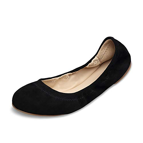(Xielong Women's Chaste Ballet Flat Lambskin Loafers Casual Ladies Shoes Leather Black Suede7.5)