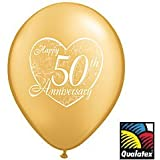 "(12) 50th Anniversary Latex Balloons 11"" Gold Color and Heart Design"