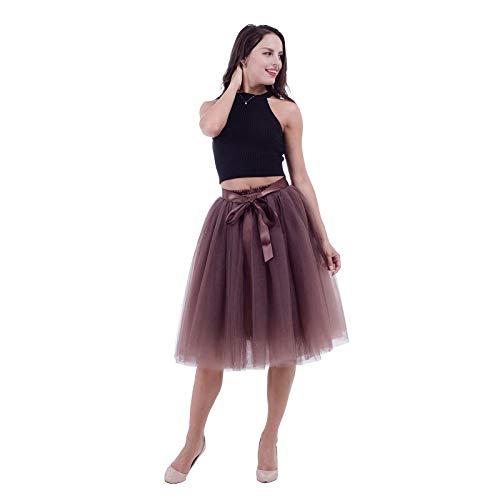 Brown WHFDBZQ 7 Layers 65Cm Knee Length Tulle Skirt Tutu Women Skirt High Waist Pleated Skirt Cosplay Petticoat Elastic Belt
