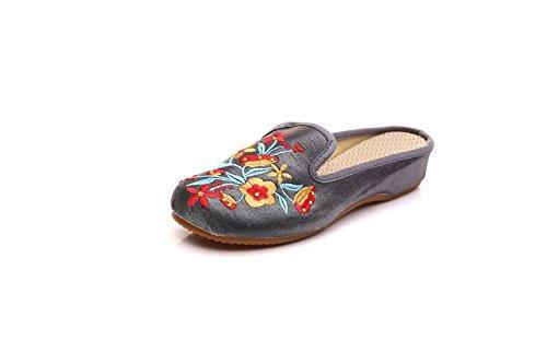 Zapatillas Mujer Gris Lazutom Por Estar Para De Satén Casa p1qBwd10