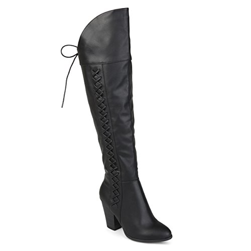 Collezione Journee Donna Regular E Largo In Vitello Faux Lace-up Boots Over-the-knee Neri