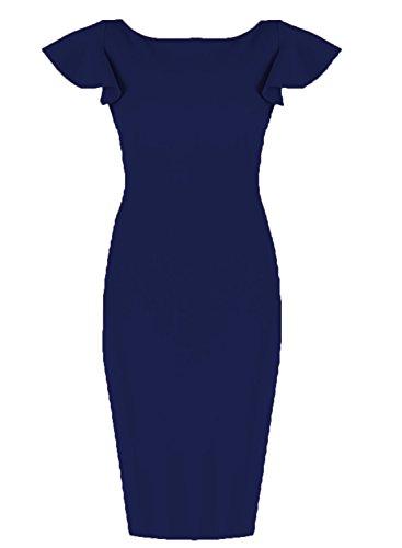WOOSUNZE Women's Business Vintage Bell Sleeve Slim Cocktail Pencil Dress (Navy Blue, Large) by WOOSUNZE