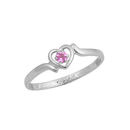 4 1/2 Girls 14K White Gold Genuine Tourmaline October Birthstone Heart Ring by Loveivy
