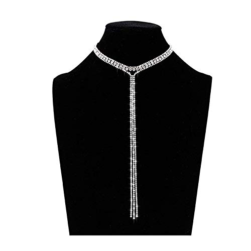 Rhinestone Silver Charm - LIAO Jewelry 3 Row Rhinestone Tassel Choker Necklace Crystal Collar Necklace Gothic Wide Diamond Charms for Girls (Silver)