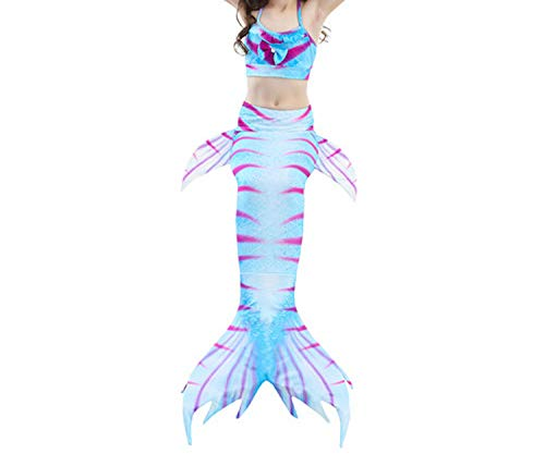 3Pcs/Set Mermaid Tail Swimsuit Swimwear Bathing Suit CCostume Bikini Set,Style 2,9T Tail Costume ()