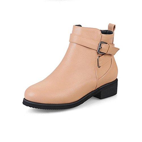 QPYC Botas cortas de cabeza redonda para mujer Botas Martin Botas de tacón bajo grueso Zapatos de gran tamaño 32-47 apricot