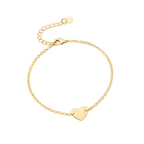 (PEARLADA Adjustable Love Heart Charm Bracelet for Women Simple 18K Gold Chain Bangle Handmade Fashion Jewelry for Girls Dainty Single Strand Link Bracelet)