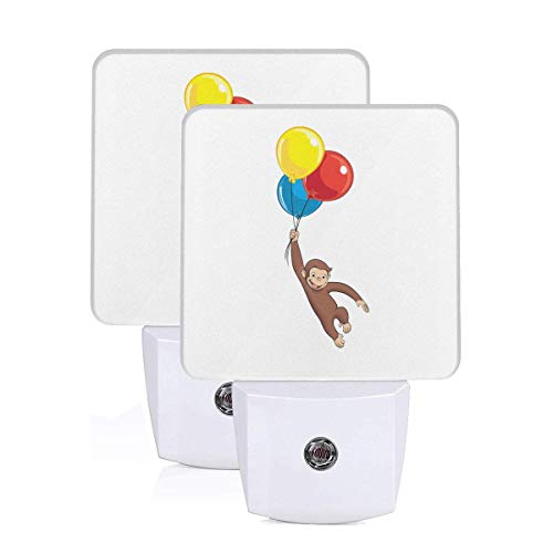 Curious George LED Night Light Lamp Bed Lamp Set of 2 with Dusk to Dawn Sensor