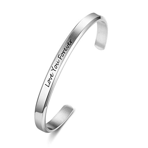 OPALSTOCK Personalized Engravable Name Bangle Bracelet Simple Cuffs Bracelet for Women Girls Stretch Bracelets Wedding Jewelry (Silver, 6mm)