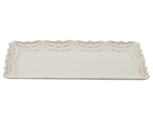 Creamware Collection - Gracie China by Coastline Imports, Victorian Rose Collection, 15-Inch Loaf Tray, Creamware Fine Porcelain