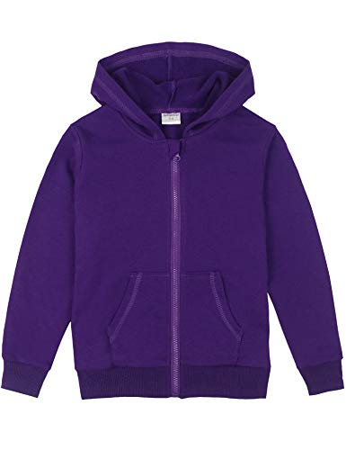 Spring&Gege Youth Solid Full Zipper Hoodies Soft Kids Hooded Sweatshirt for Boys and Girls Purple Size 5-6 Years