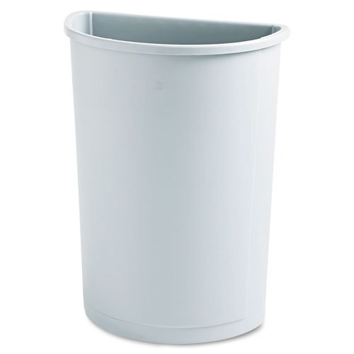 Rubbermaid RCP3520GRA - Untouchable Waste Container, Half-Round, Plastic, 21 Gal, Gray