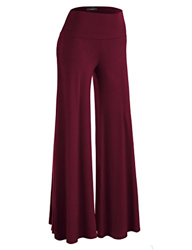 Made By Johnny WB750 Womens Chic Palazzo Lounge Pants XL Wine]()