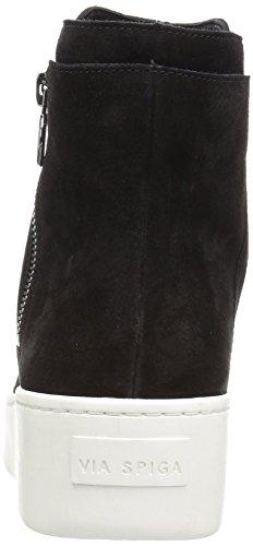 Black Via Spiga Suede Sneaker Zip Mid High Women's Side Easton 6HnqwvU6