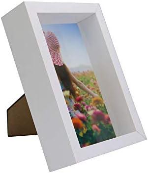 Marco de fotos 3D | Caja de fotos de 4x6 pulgadas | Color blanco | Vitrina de vidrio | Marco blanco con profundidad| Retratos y paisajes | M&W: Amazon.es: Bebé
