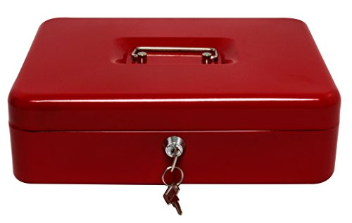 Royal Brands Cash Box with Key Lock, Portable Metal Storage Box, Money Box w/Double Layer 2 Keys for Security, Festivals, Fundraisers, Garage/Yard Sales (Red, XL 12x9.5x4 -