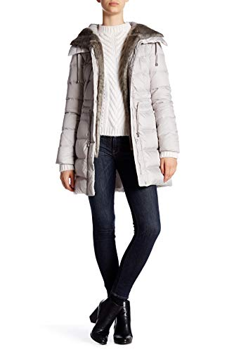 Laundry Coat Quilted (Laundry by Shelli Segal Hooded Quilted Faux Fur Trim Down Coat, Pebble, Small)