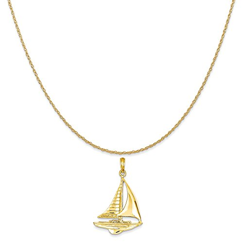 Mireval 14k Yellow Gold 2-D Sailboat Pendant on a 14K Yellow Gold Rope Chain Necklace, 20