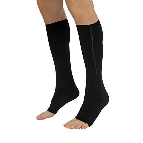 Toeless Compression Socks Women Men 20-30mmHg YKK Side Zippers Open Toe Knee High Support Stockings Sleeves Graduated Athletic Medical Fit for Running Flight Nurses (Black L)
