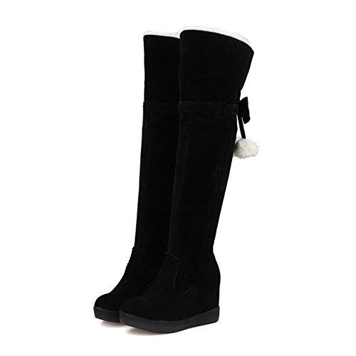 Suede Solid Foldable Girls Wheeled Shoes Heel Imitated Black Boots BalaMasa x0qXwPP