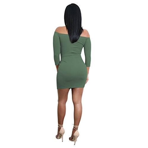 Zhiyuanan Damen Kleid 7 Geteilte Ärmel Aus Der Schulter Bodycon ...