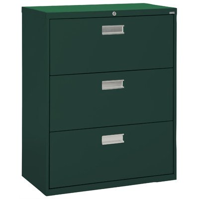 Sandusky Lee LF6A363-08 600 Series 3 Drawer Lateral File Cabinet, 19.25″ Depth x 40.875″ Height x 36″ Width, Forest Green