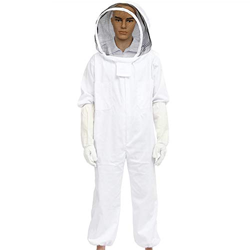 MU DUO DUO All-in-One Apiarist Beemaster Beekeeping Suit with Veil for Total Protection Cotton Bee Clothing (XL, White) from MU DUO DUO