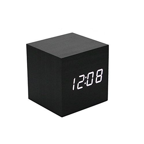 Ieasycan Multi-colors Best High-end Digital Clocks Desktop Clock Thermometer Wooden LED Alarm Clock Home Decor