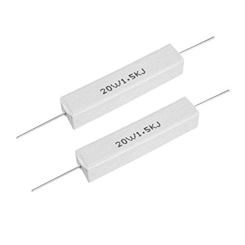 uxcell 20W 1.5k Ohm Power Resistor Ceramic Cement Resistor Axial Lead White - Power Ohm Watt 20 Resistor