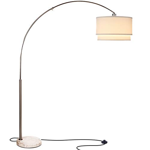 Brightech Mason LED Arc Floor Lamp with Marble Base - Living Room Pole Lighting - Modern, Tall Standing Hanging Light Fits Behind The Couch Or in A Corner - Nickel