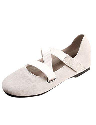 Zoulee Womens Zachte Onderkant Ballet Schoen Lederen Bandjes Schoenen Grijs Wit