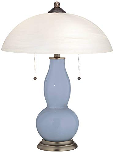 Modern Accent Table Lamp Blue Sky Glass Double Gourd Alabaster Glass Dome Shade for Living Room Family Bedroom Bedside - Color + Plus