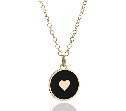 NanoStyle Gold Plated Heart Necklace Disc Circle Black Enamel Pendant, 18+2