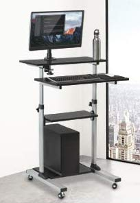 Rife Mobile Stand Up Desk/Height Adjustable Computer Work Station Rolling Presentation Cart (for Monitor or Laptop)