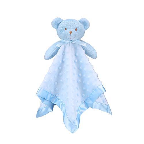 "Pro Goleem Bear Baby Lovey Stuffed Plush Lovie/Security Blanket for Boys Minky Dot Fabric Blankie Best Gift for Newborn/Infant (Blue, 15"")"