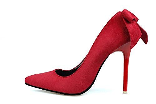 Aalardom Dames Spikes-stilettos Puntige Teen Stevige Stevige Pumps-schoenen Met Strik Rood-strik