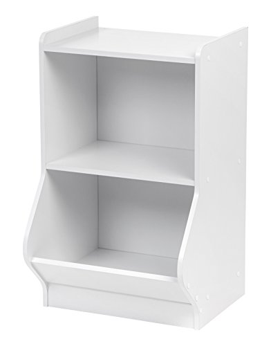 IRIS 2-Tier Storage Organizer Shelf with Footboard, White (2 Bookcase Shelf Deep)