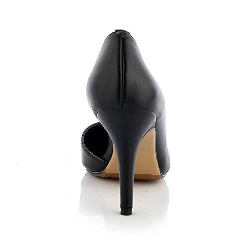 Pumput Materiaali Kengät Kiinteä Korkokenkiä Vedettävä Naisten Sekoitettu kengät Teräväkärkiset Amoonyfashion Suljetuilla Musta EZ7qzFw