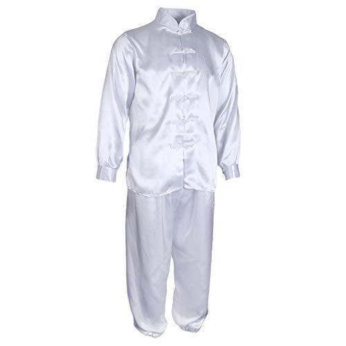Fenteer Traditional Silk Satin Tai Chi Uniform Kung Fu Sports Outfit Costume for Women Men - White, 2XL