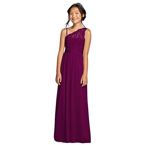 One Shoulder Long Lace Bodice Dress Style Jb9014  Sangria  12
