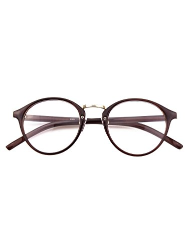 Happy Store CN65 Vintage Inspired Horned Rim Metal Bridge P3 UV400 Clear Lens - Frames Shell Eyeglass Round Tortoise