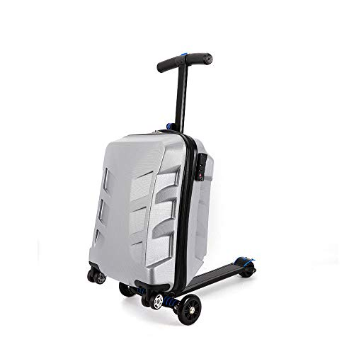 21″ Pedal Suitcase Rolling Luggage cart Folding Scooter Hard case Trolley Suitcase Trolley, Kick-Board, Suitcase and Trolley (Silver)