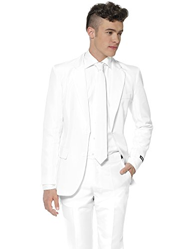 Suitmeister Solid Colored Suits - White - Includes Jacket, Pants & TiE ()