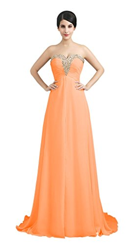 Brautjungfer formale drasawee Orange Abend Party Kleid Ball Damen Trägerlos Perlen Chiffon 6wxSpU7q