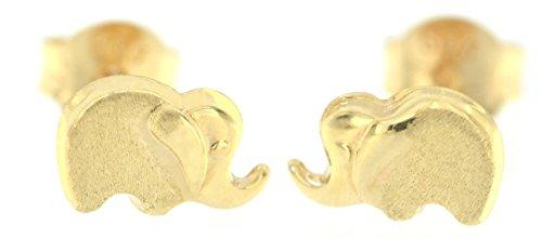 Erce Elefante Pendientes Mini, Oro Amarillo 14K (585/1000)