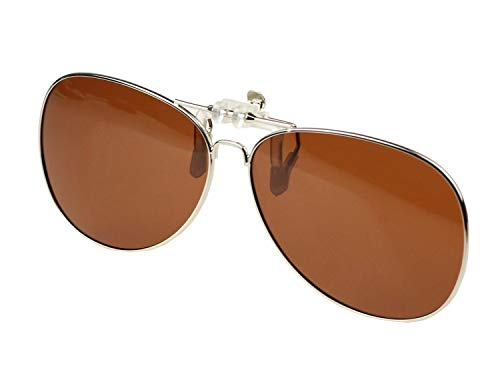- Jaky Retro Polarized Lens Glasses Clip on Flip up High Grade Silicone Clip Classic AVIATOR Reflective UV400 UV Protection Mens&Womens Sunglasses For Driving Fishing Running Cycling(Brown)